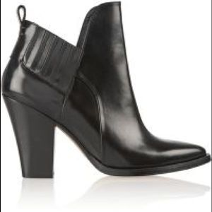 Maje Glossed Leather Ankle Boots